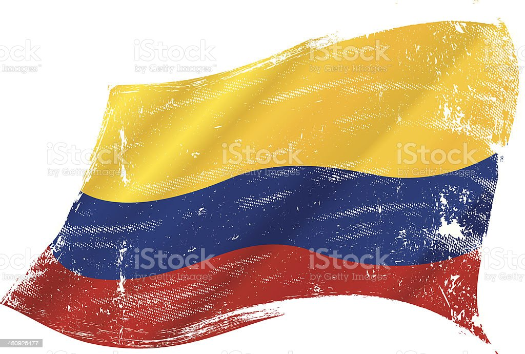 Colombian grunge flag vector art illustration