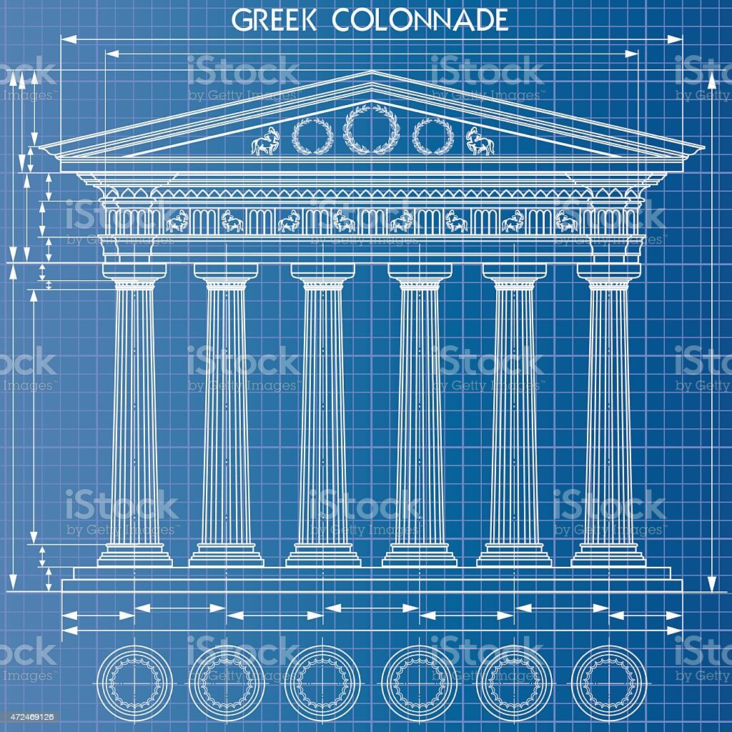 Colonnade blueprint vector art illustration