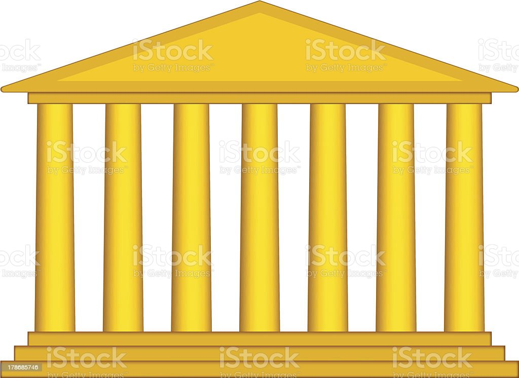 Colonnade illustration in yellow vector art illustration