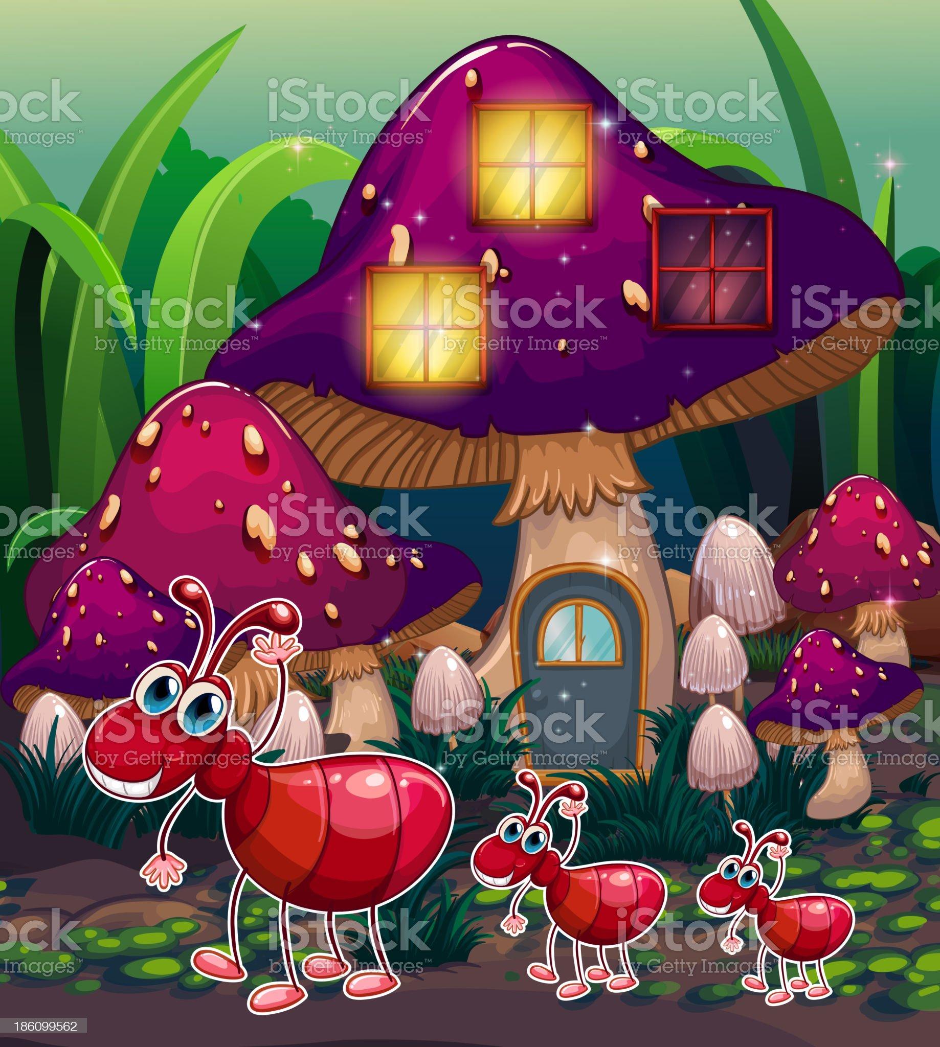 colony of ants near the mushroom house royalty-free stock vector art