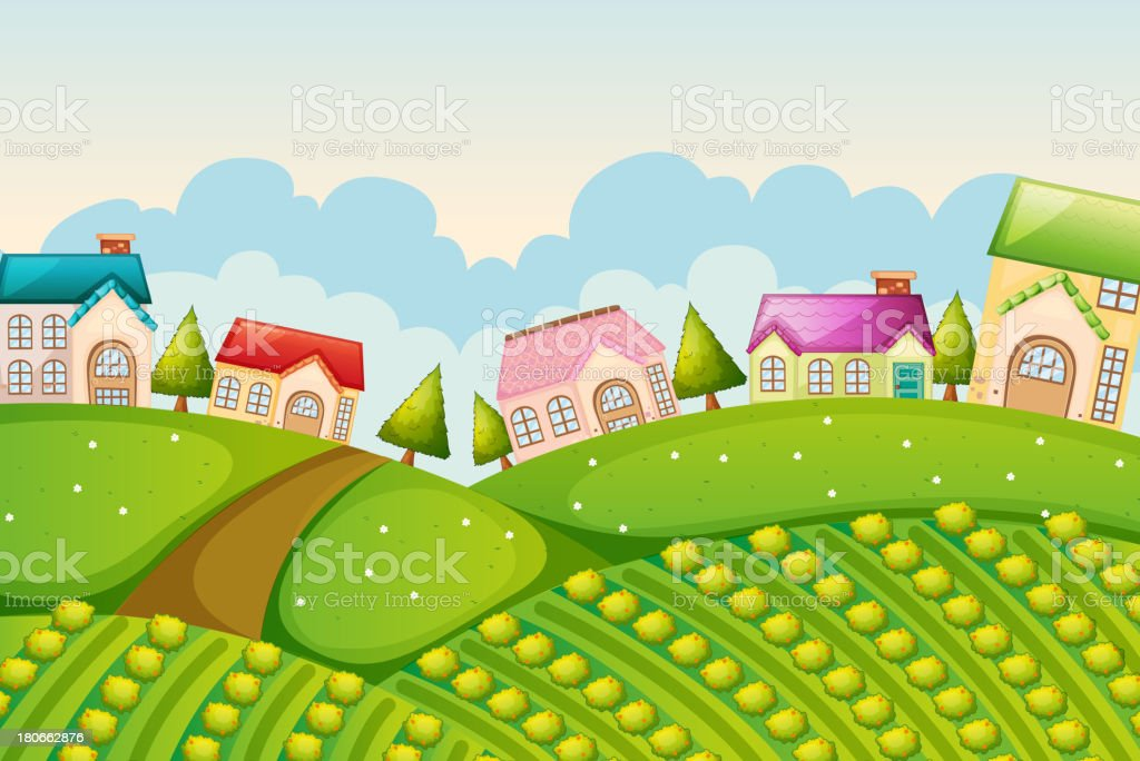 colony of houses in nature royalty-free stock vector art
