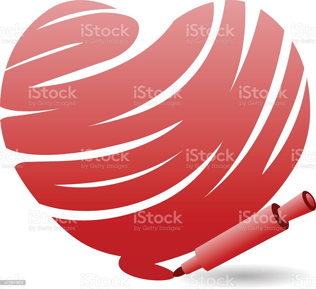 Color a Heart vector art illustration