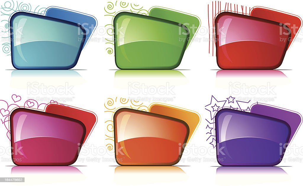 Color and glossy Folder set royalty-free stock vector art