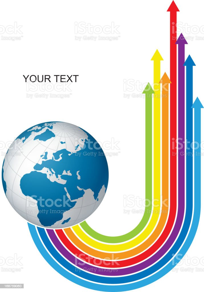 Color arrows on earth royalty-free stock vector art