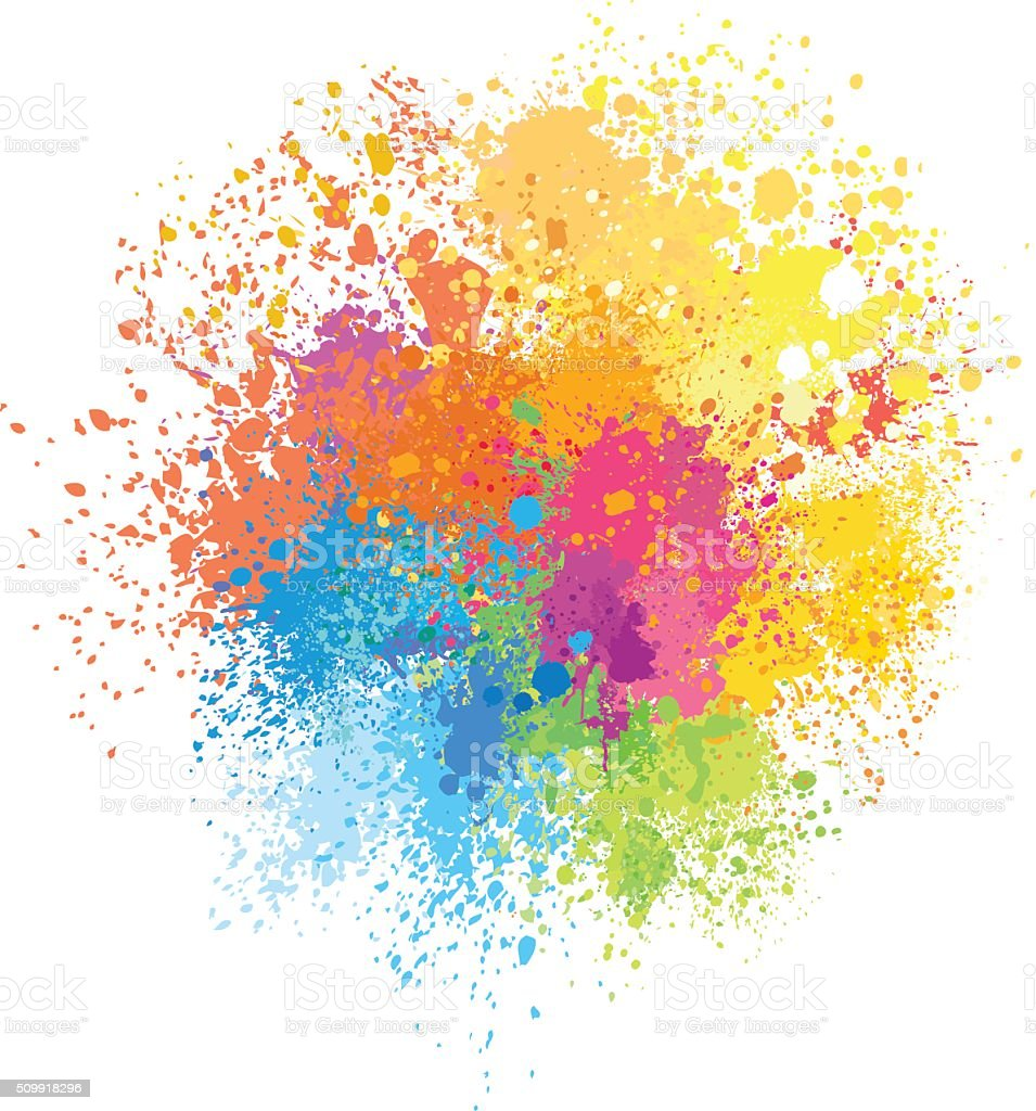 Color background of paint splashes vector art illustration