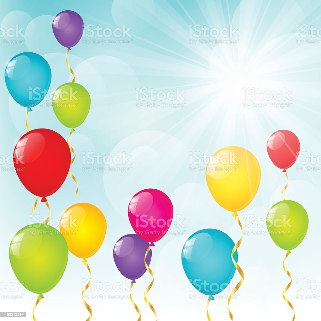 Color balloons on sunny background royalty-free stock vector art
