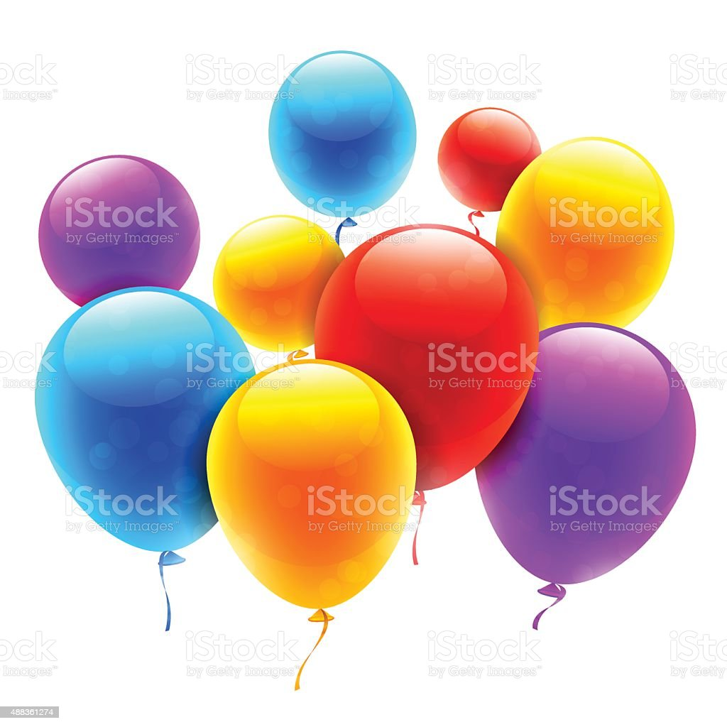 Color Balloons vector art illustration