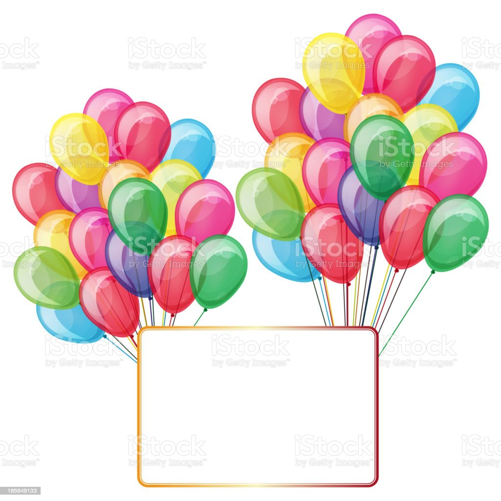 color balloons with banner isolated on white royalty-free stock vector art