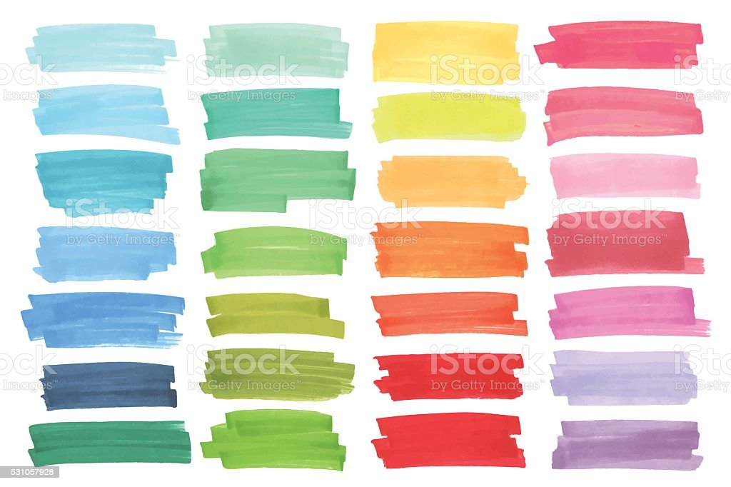 Color banners drawn with japan markers. Stylish elements for design vector art illustration