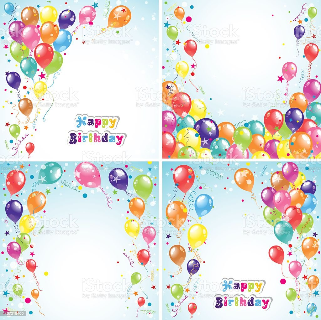 Color beautiful party balloons vector art illustration