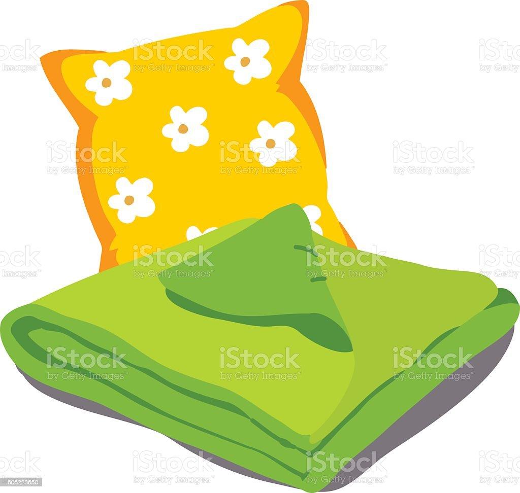 Color bed linen vector art illustration