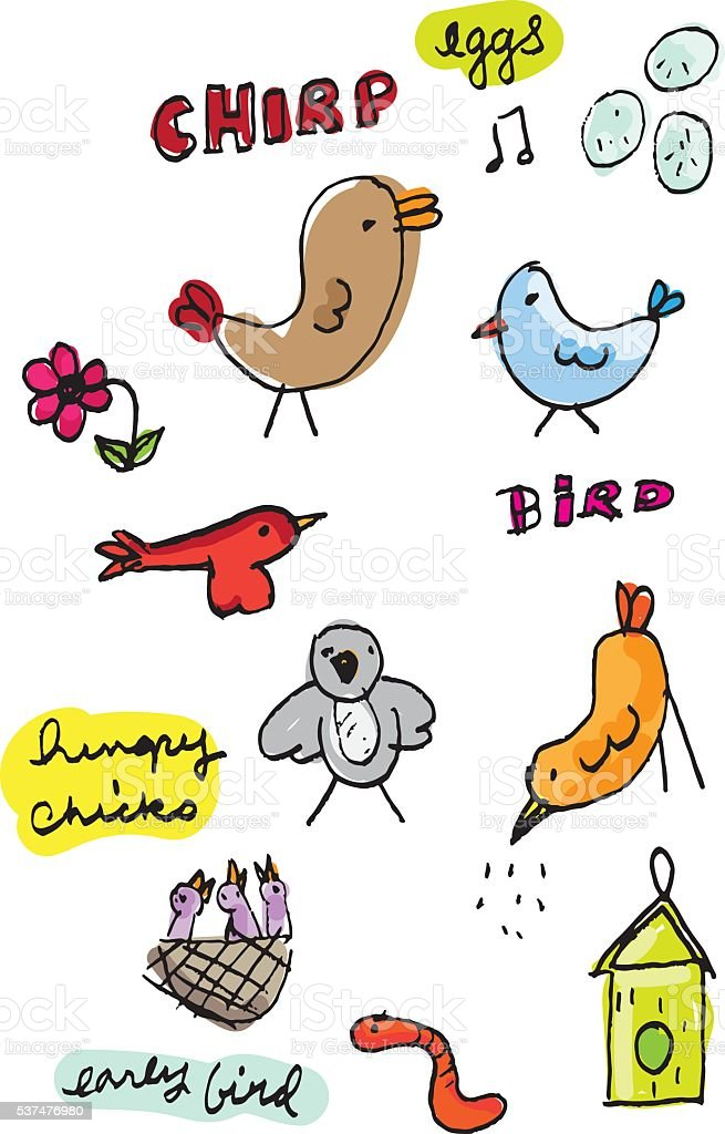 Color Bird Sketches With Text vector art illustration