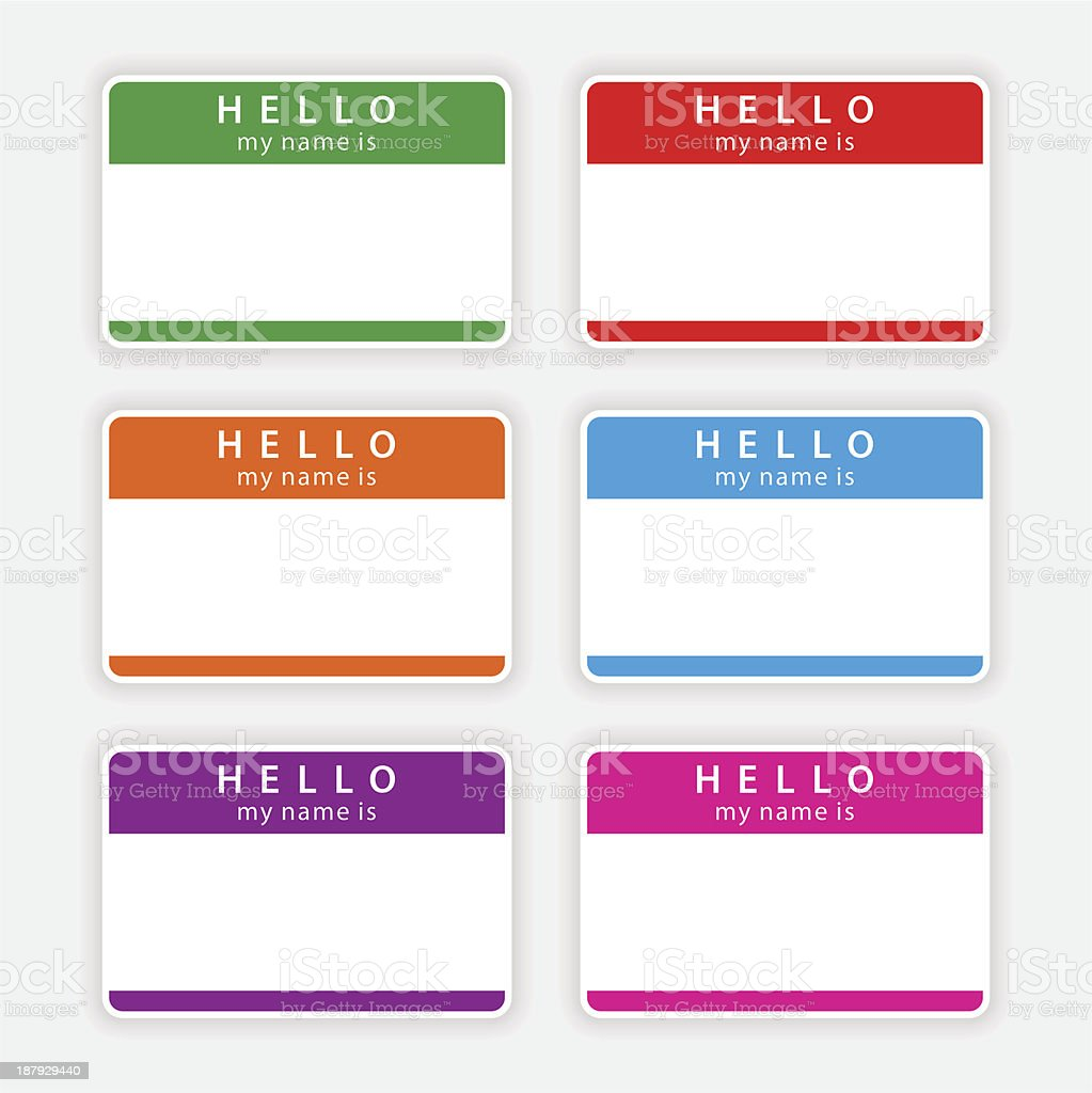 Color blank nametag hello my name is sticker tag label vector art illustration