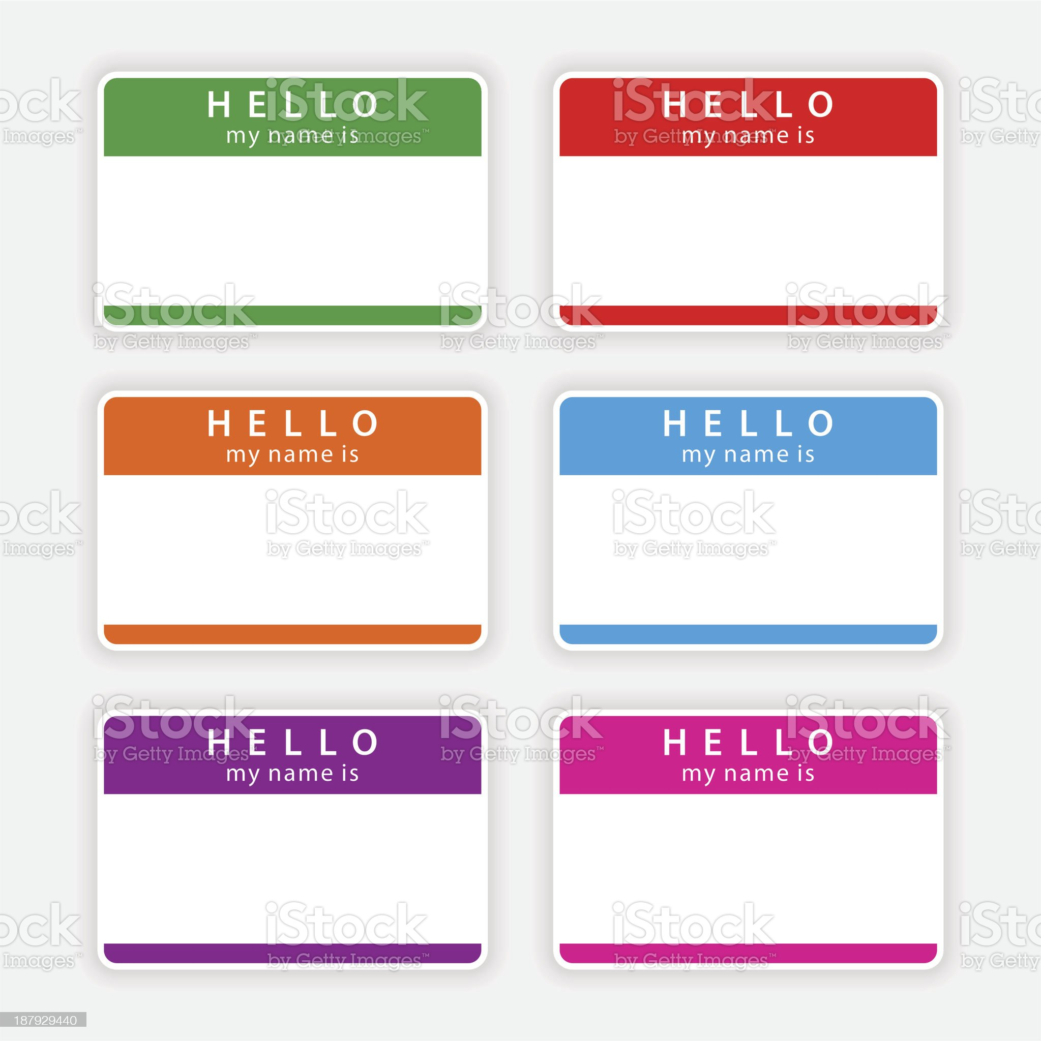 Color blank nametag hello my name is sticker tag label royalty-free stock vector art