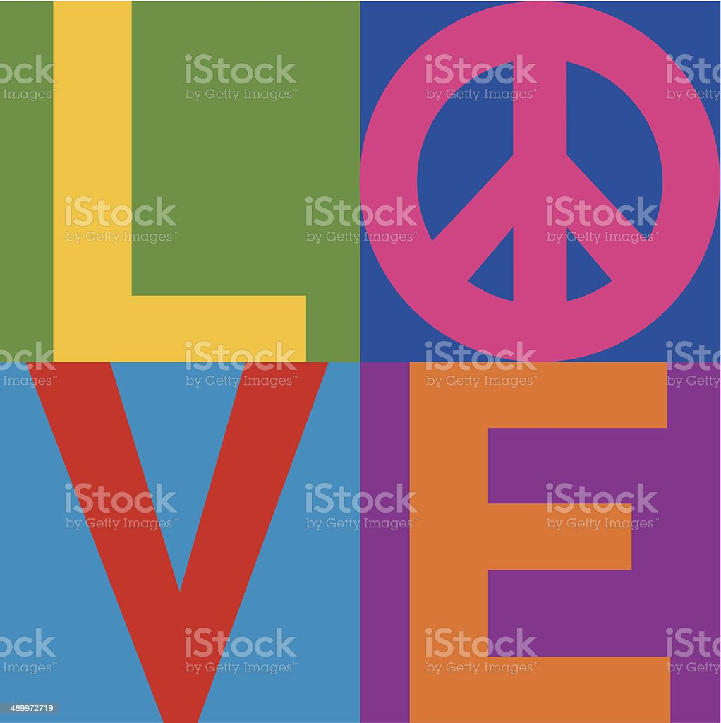 Color block text design of the word 'love' vector art illustration