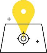 Color box icon, location concept illustration, icon