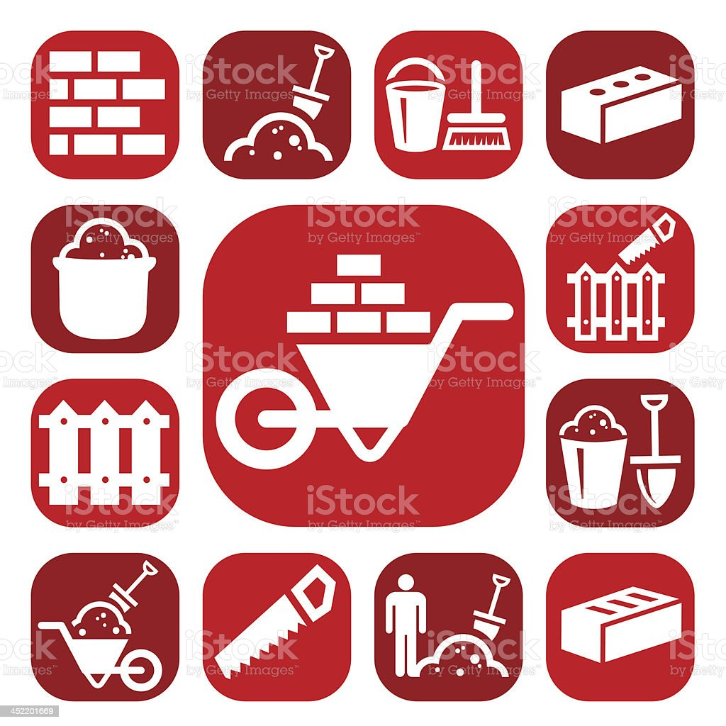 color bricklayer icons royalty-free stock vector art