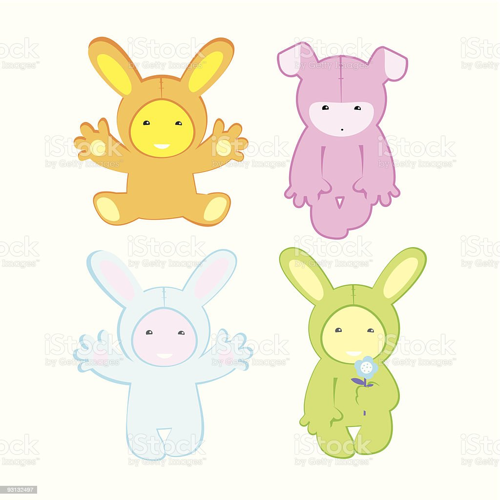 color bunnys vector art illustration