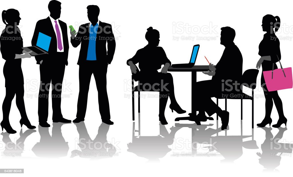 Color Business Meeting vector art illustration