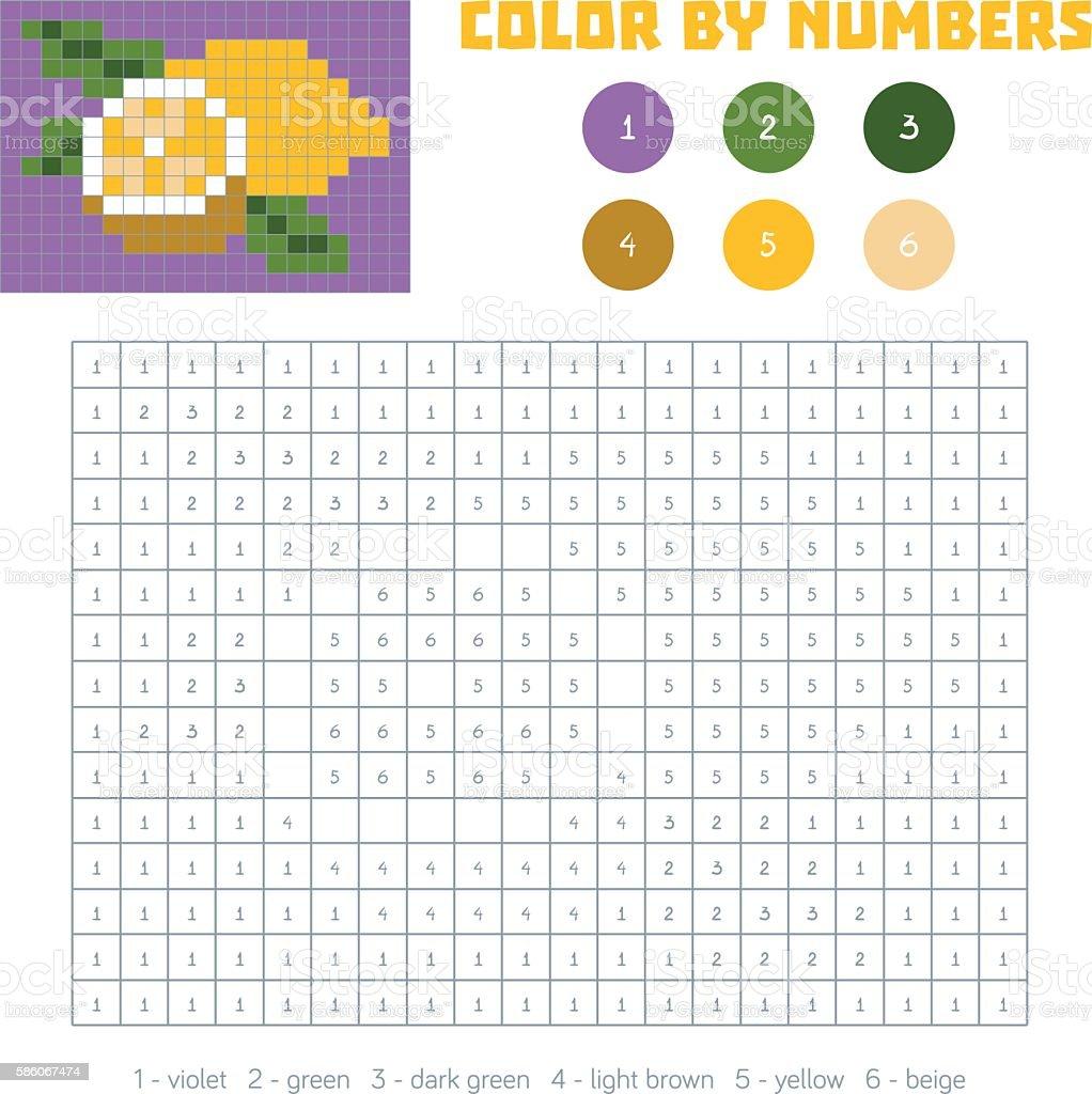Color by number, fruits and vegetables, lemon vector art illustration
