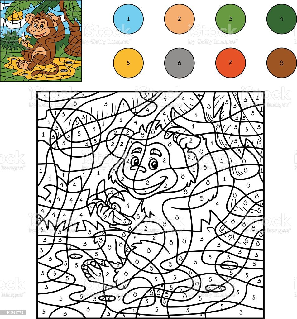 color by number game for children monkey with a banana stock