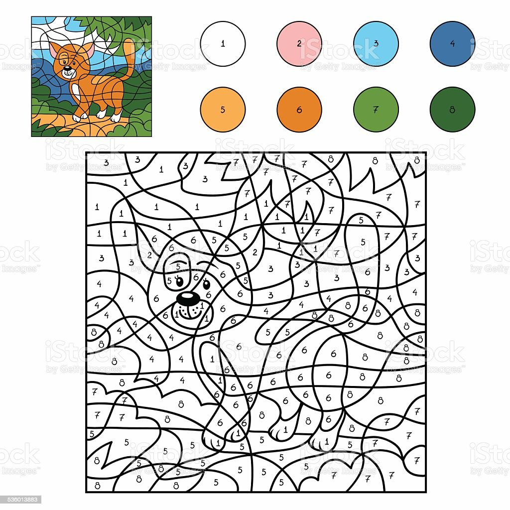Color by number (cat) vector art illustration
