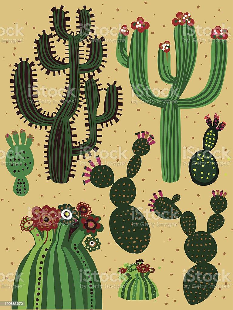 color cactus set vector art illustration