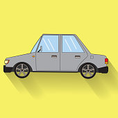 Color Car  with shadow Vector