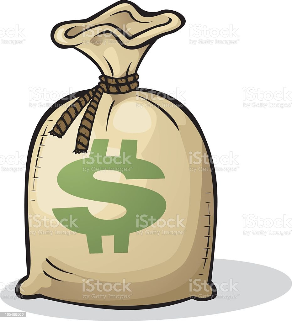 Color cartoon drawing of a full bag of money with $ vector art illustration