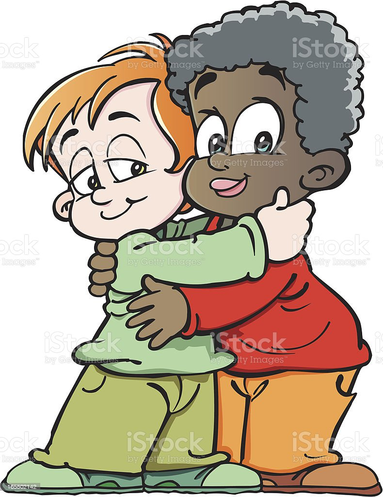 color cartoon drawing of two children hugging one another