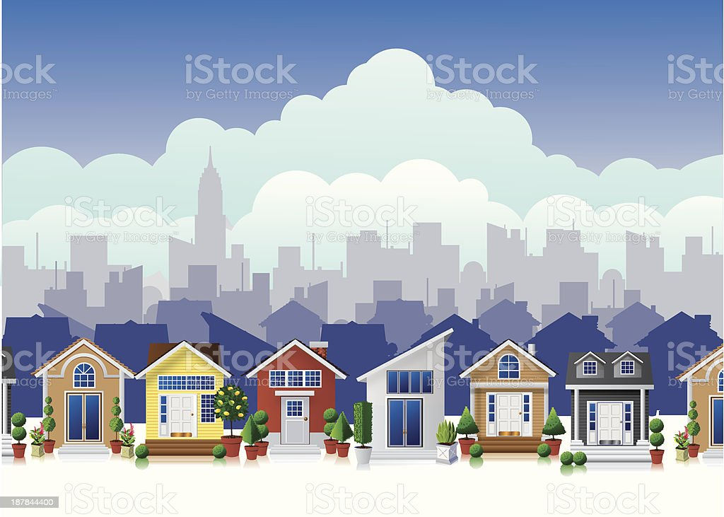Color cartoon town vector art illustration