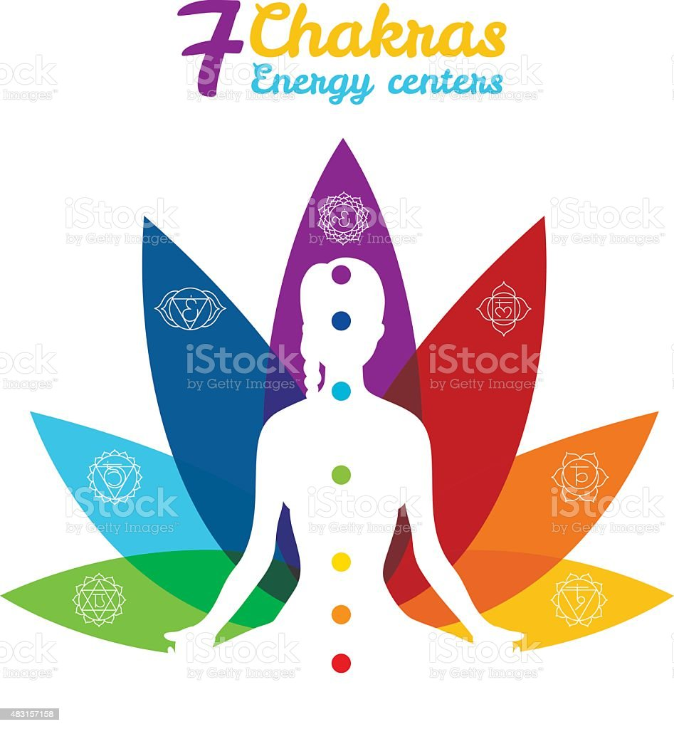 Color chakras with woman vector art illustration