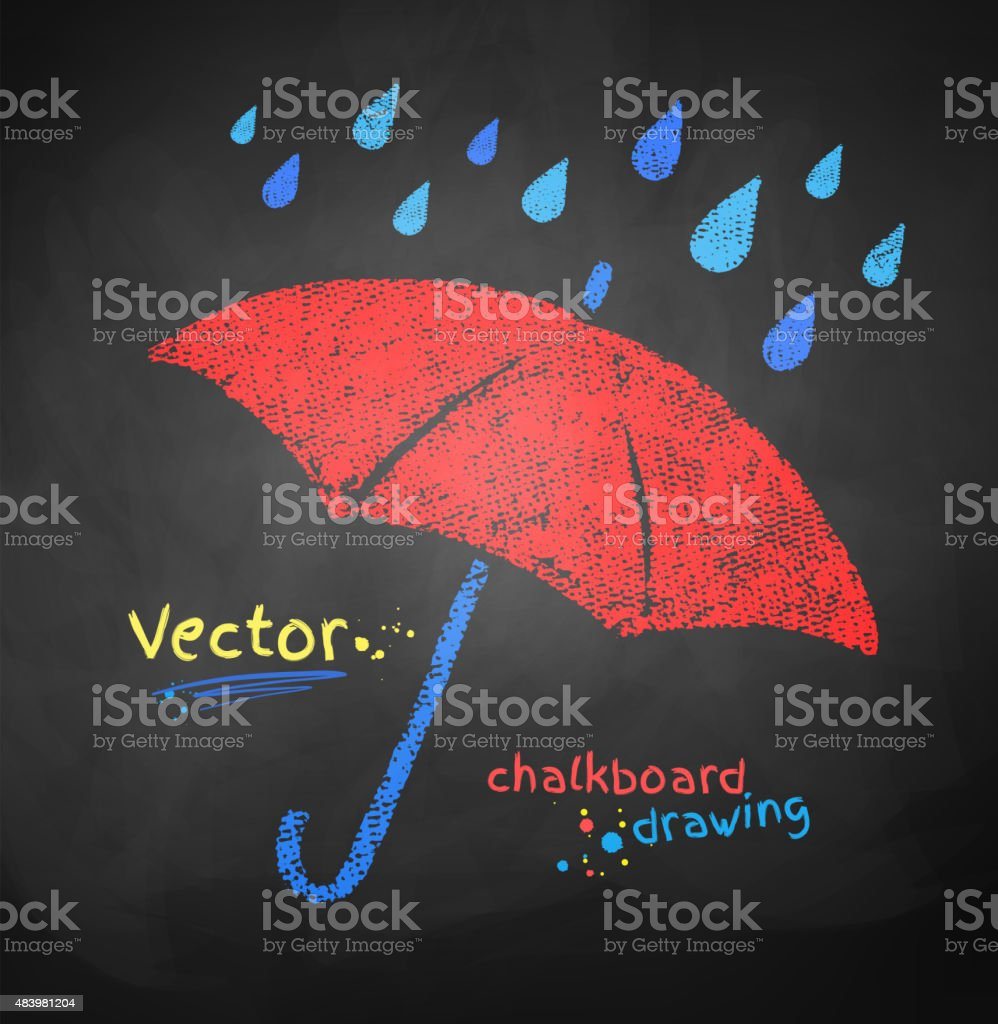 Color chalked umbrella. vector art illustration