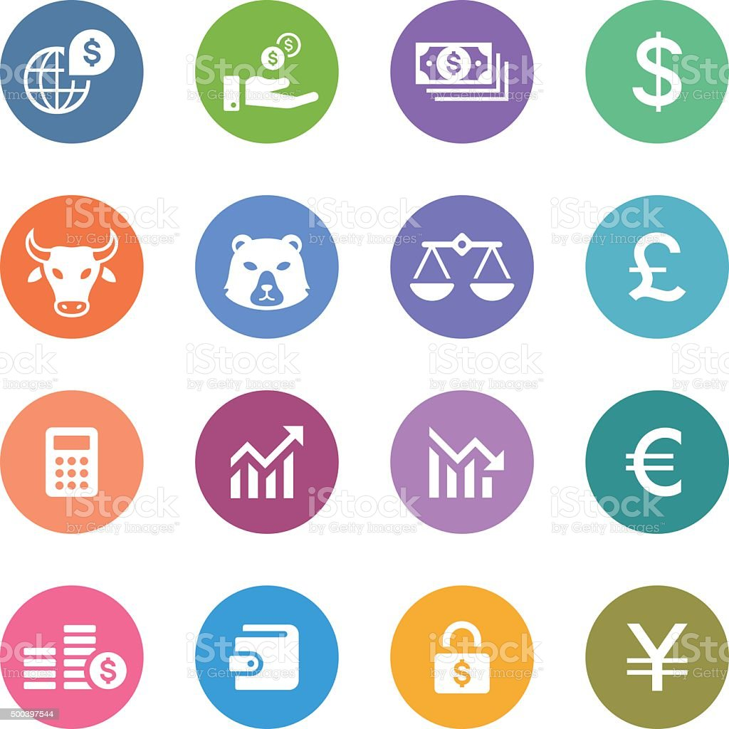 Color Circle Icons Set | Banking & Finance vector art illustration