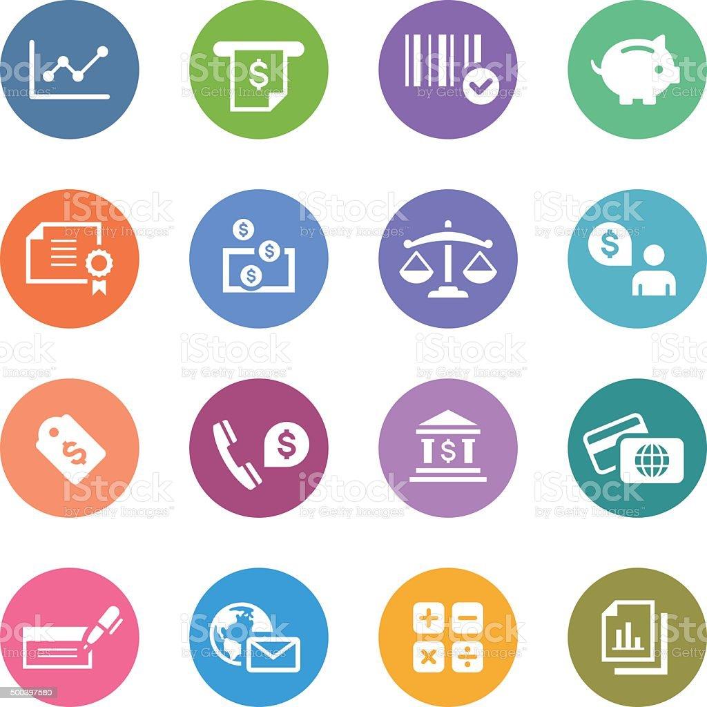 Color Circle Icons Set | Banking & Finance vector art illustration