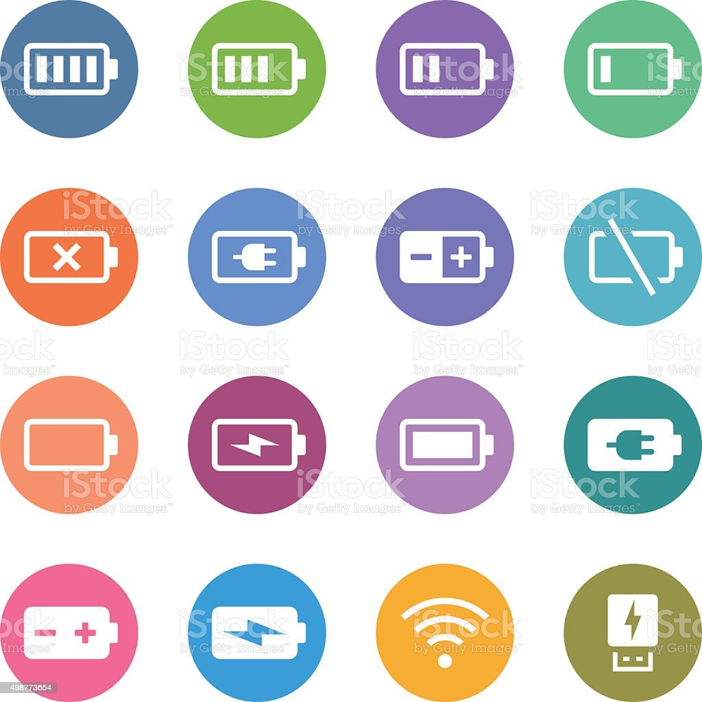 Color Circle Icons Set | Battery & Power vector art illustration