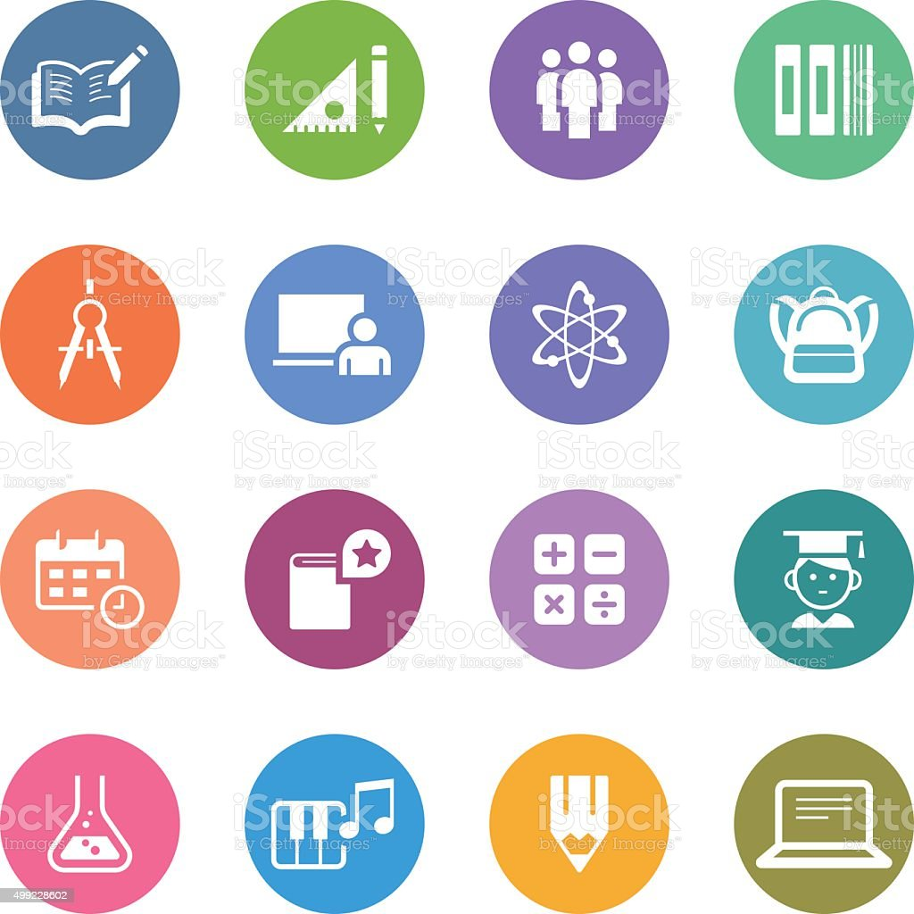Color Circle Icons Set | Education vector art illustration
