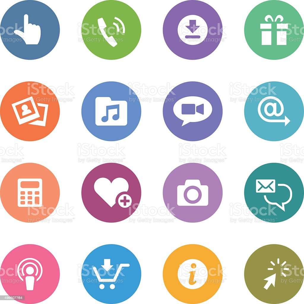 Color Circle Icons Set   Mobile Apps vector art illustration