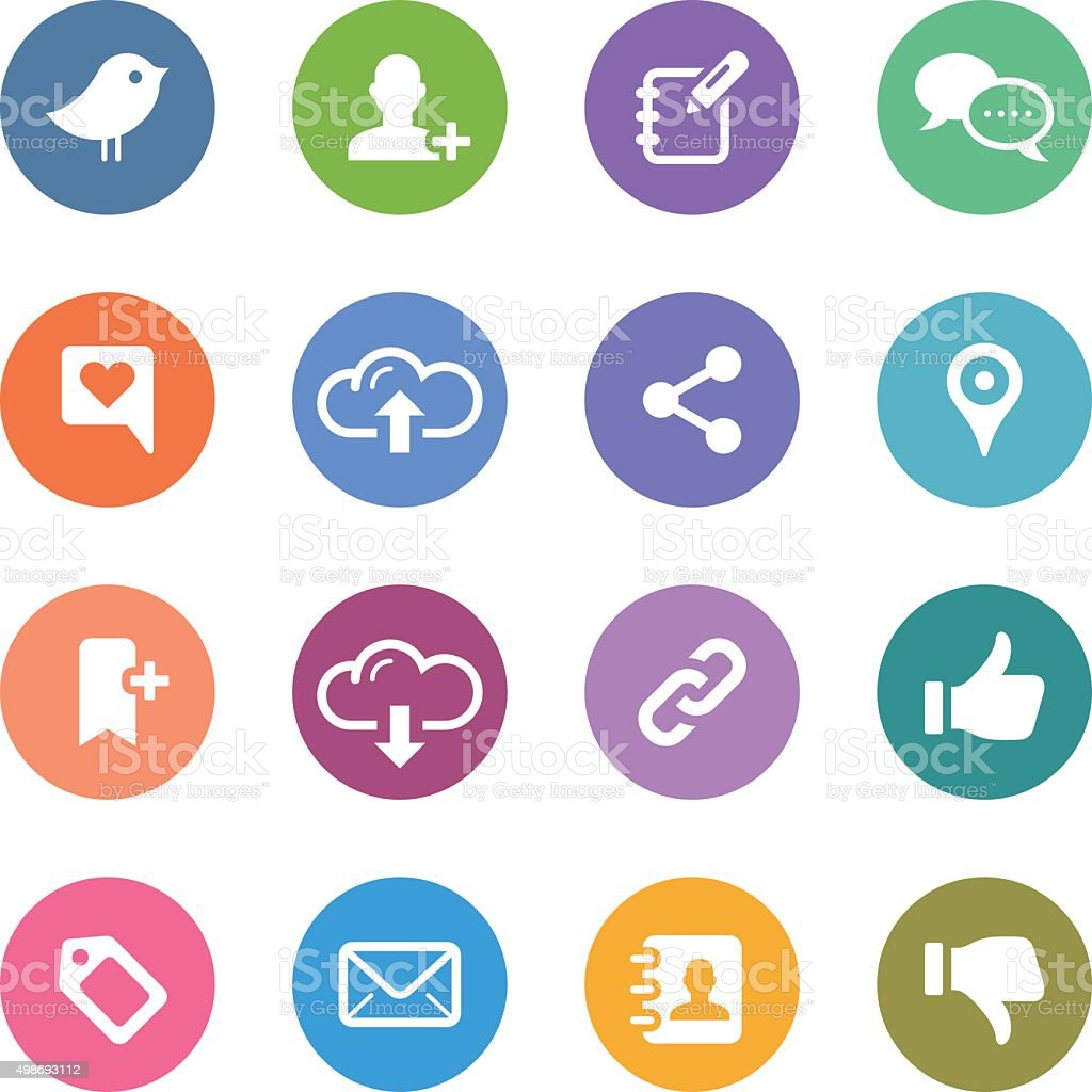 Color Circle Icons Set | Social Media vector art illustration