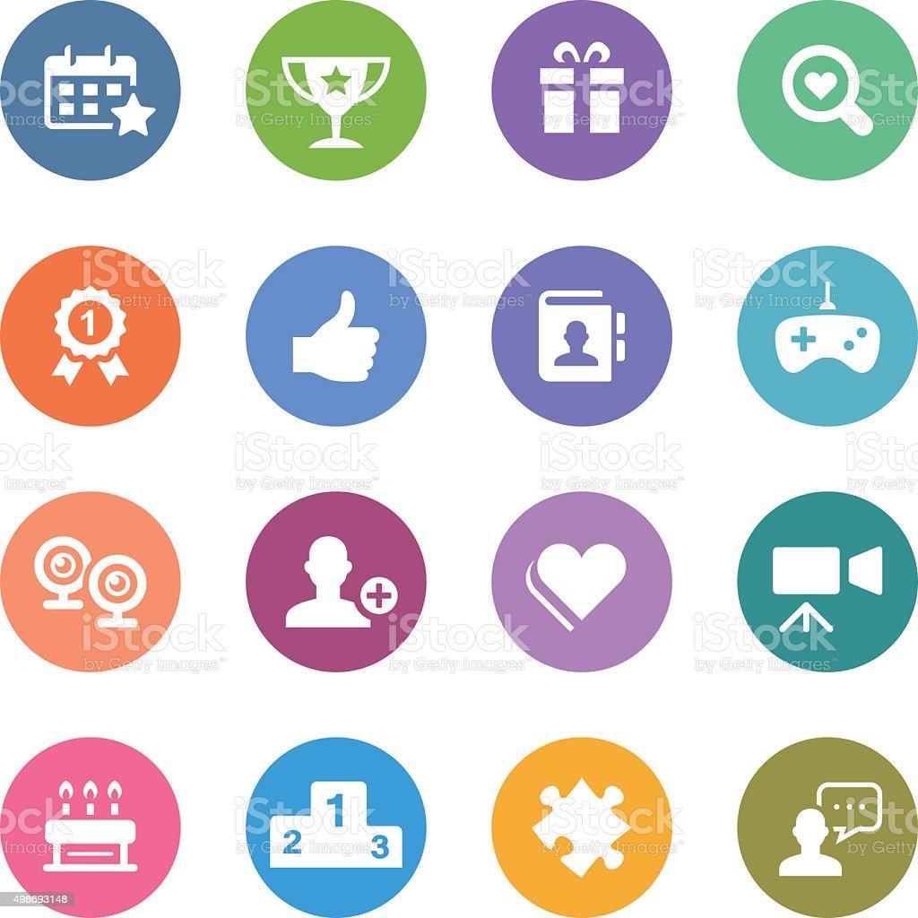 Color Circle Icons Set   Social Media vector art illustration