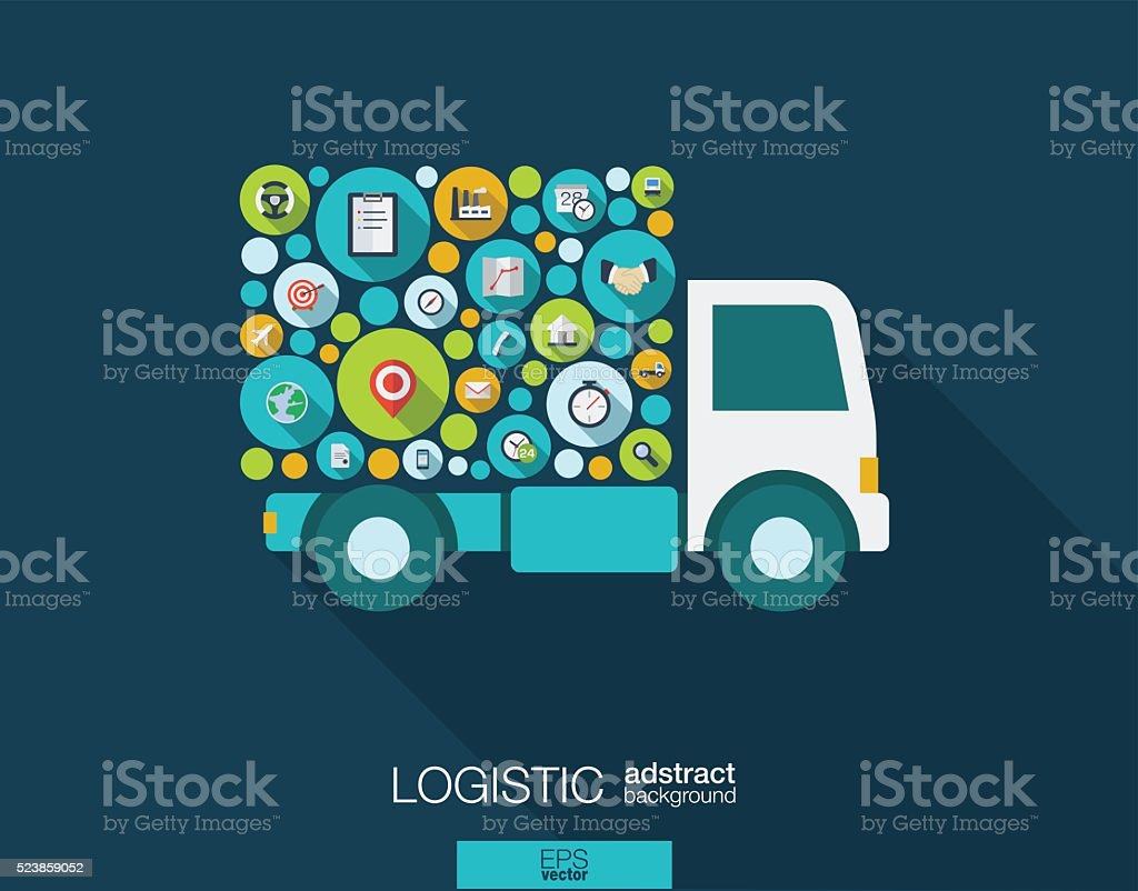 Color circles, flat icons in a truck shape for distribution vector art illustration