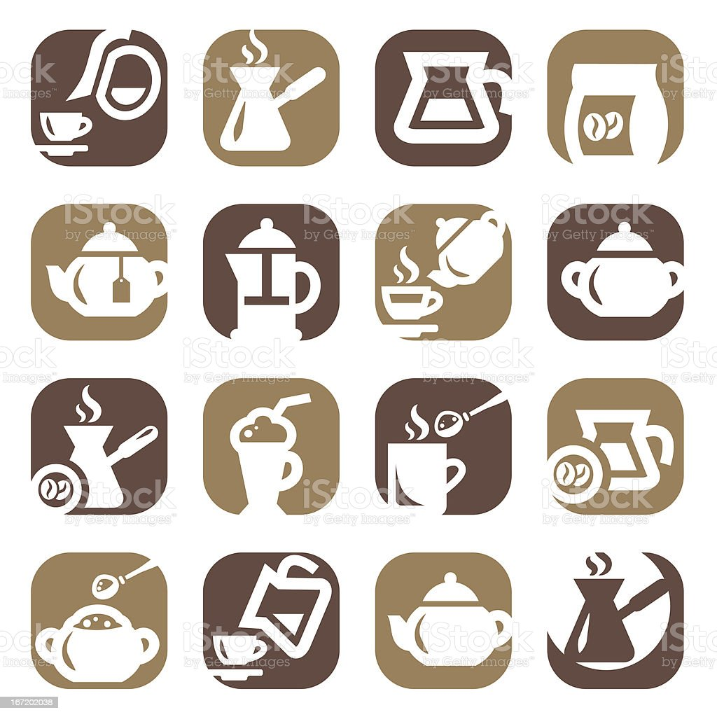 color coffee and tea icons set royalty-free stock vector art