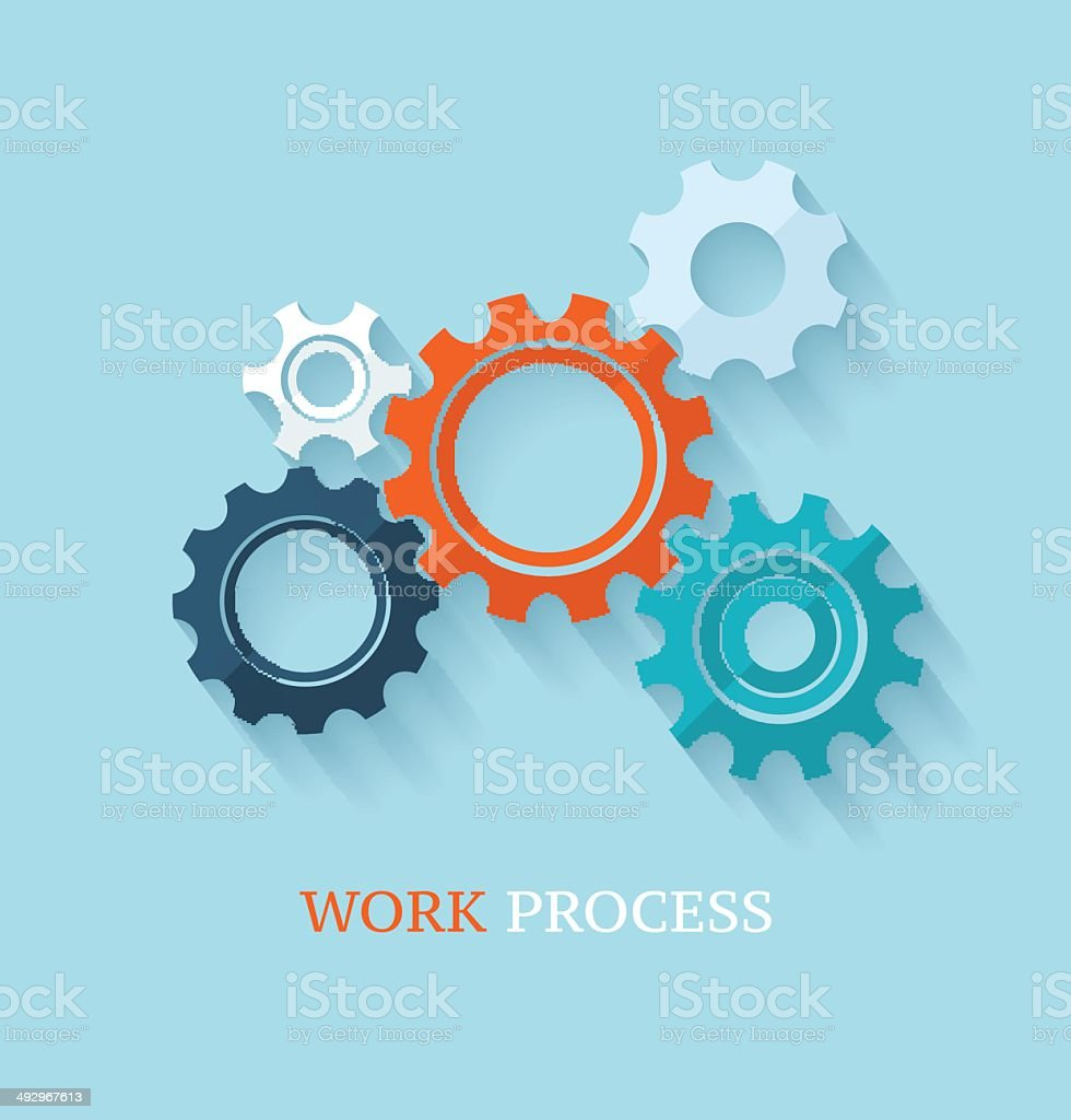 Color cogs or gears on light background. vector art illustration