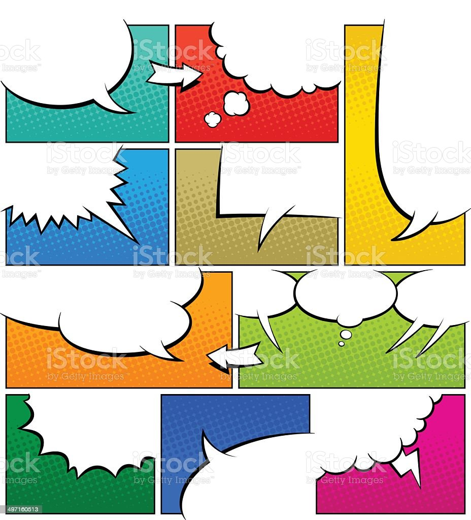 Color Comic Book Page Template vector art illustration
