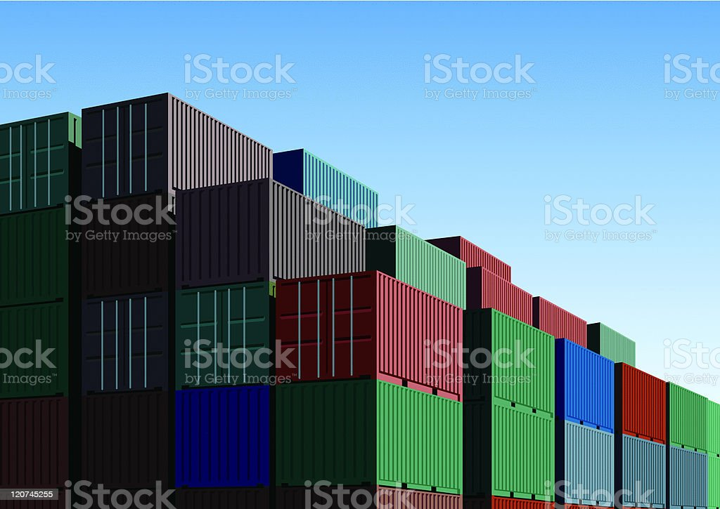 color container with blue sky royalty-free stock vector art