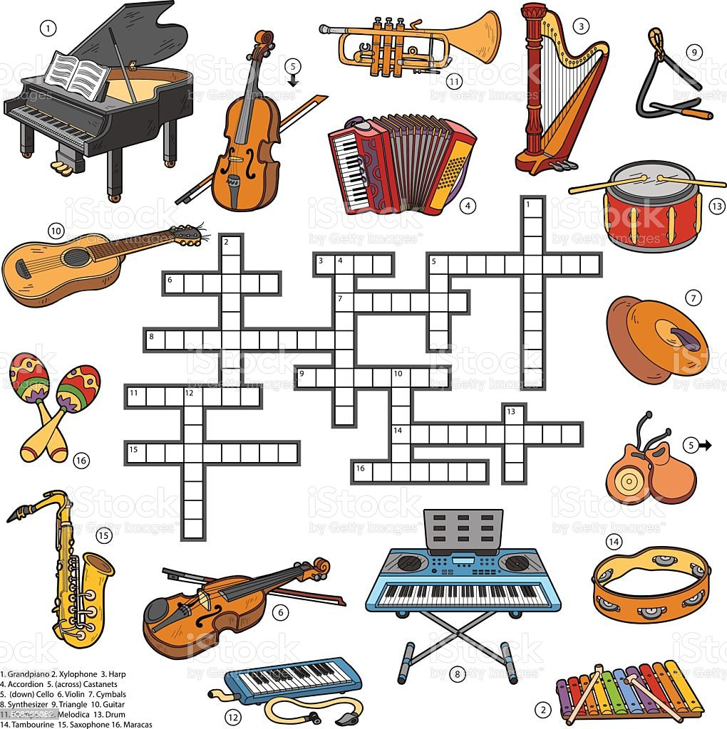Worksheet Percussion Instruments Crossword color crossword about music instruments stock vector art 508255682 royalty free art