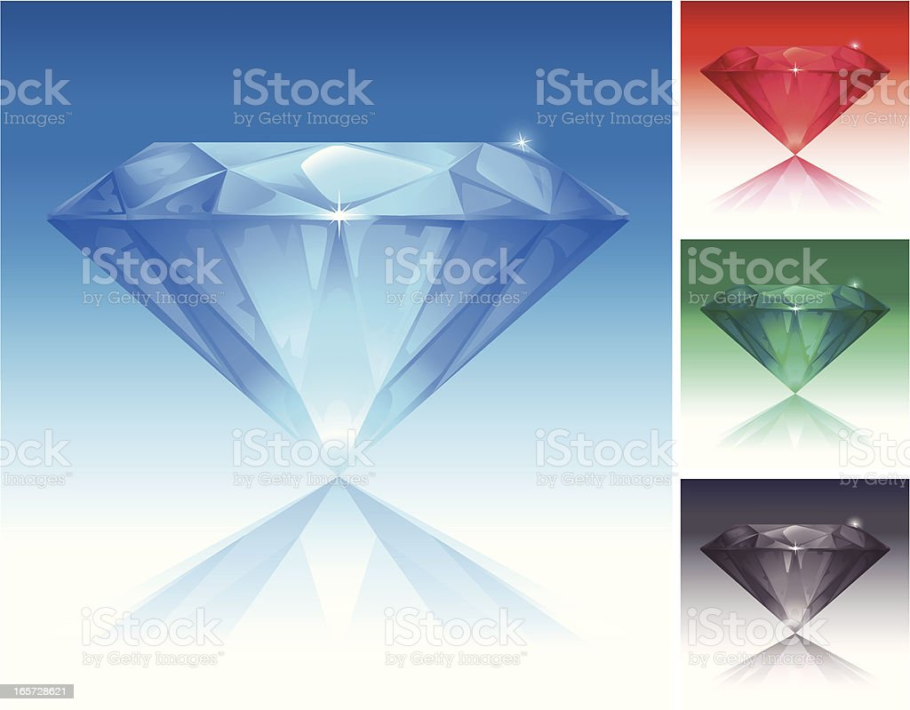 Color Diamonds Set royalty-free stock vector art