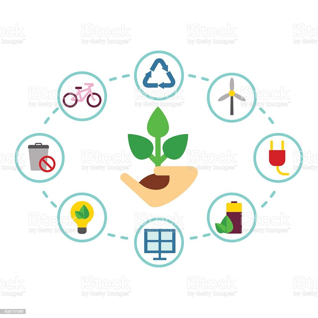 color eco icons vector art illustration