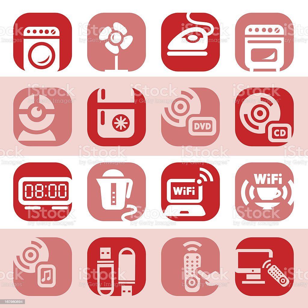 color electronic home devices icons royalty-free stock vector art