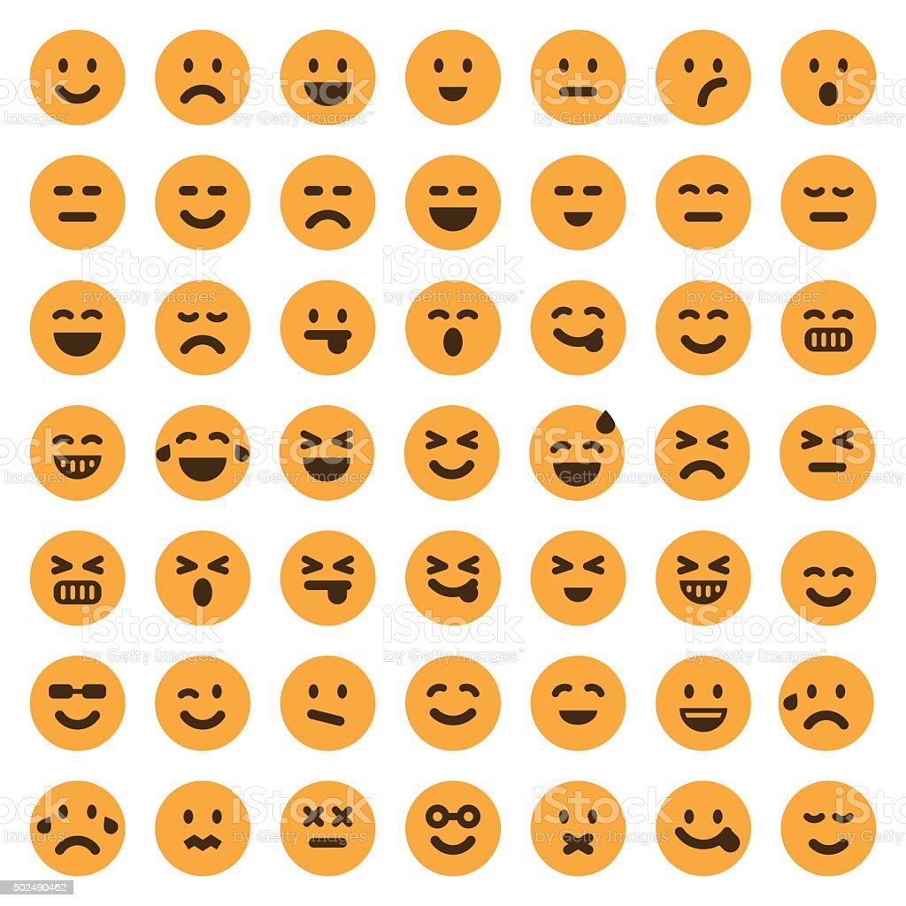 Color emoji icons set 1 vector art illustration